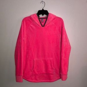 Bright Pink Fleece Hoodie, Size Large